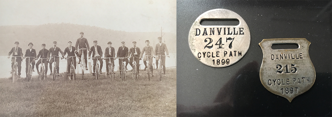 The Danville Bicycle Club (left) in Pennsylvania sold membership badges (right) in the 1890s for use of the Danville Cycle Path, now known as the J. Manley Robbins Trail, in Montour County. | Courtesy Sis Hause, Montour County Historical Society