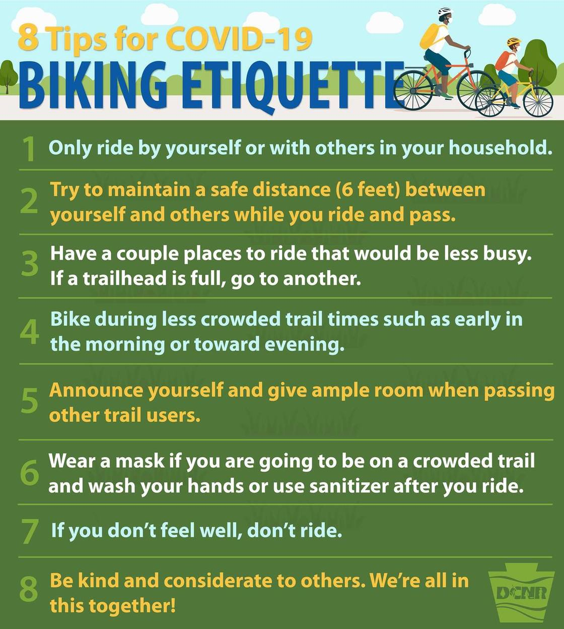8 Tip for COVID-19 Biking Etiquette | Courtesy Pennsylvania Department of Conservation and Natural Resources