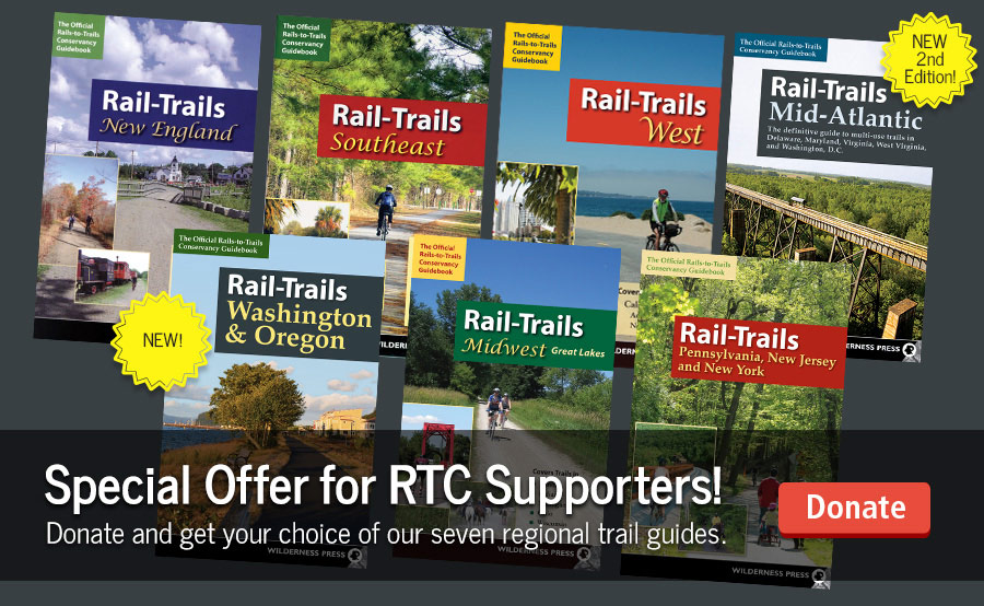 Donate and choose one of our seven rail-trail guidebooks as your thank you gift.