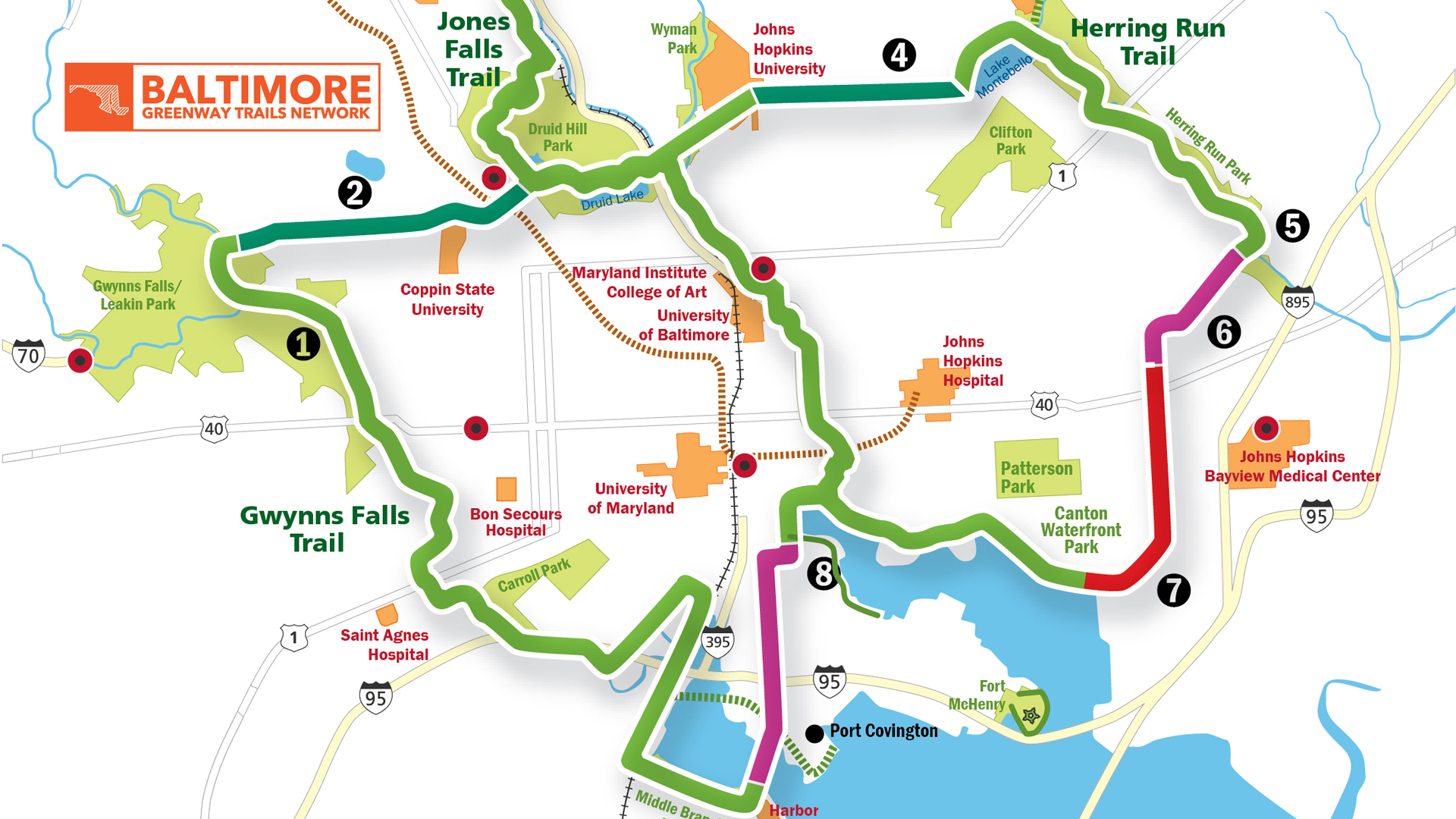 Baltimore Greenway Trails Network Map