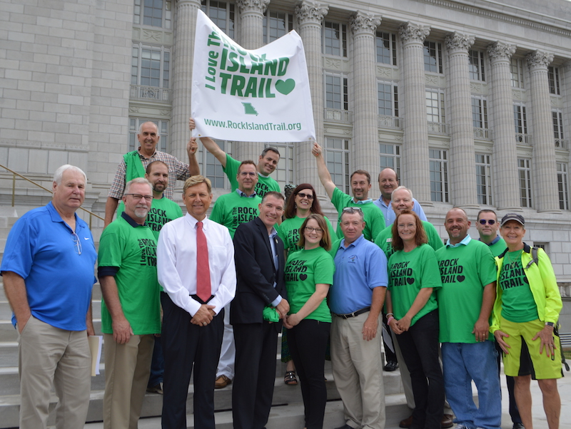 Speakers at a rally for the Rock Island Trail in Missouri | Photo by Brandi Horton