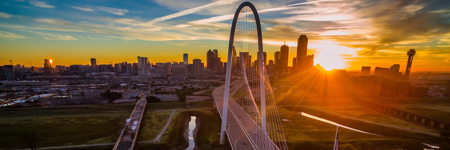 The Ronald Kirk pedestrian bridge (left) and the Margaret Hunt Hill Bridge over the Trinity Skyline Trail, Dallas, Texas