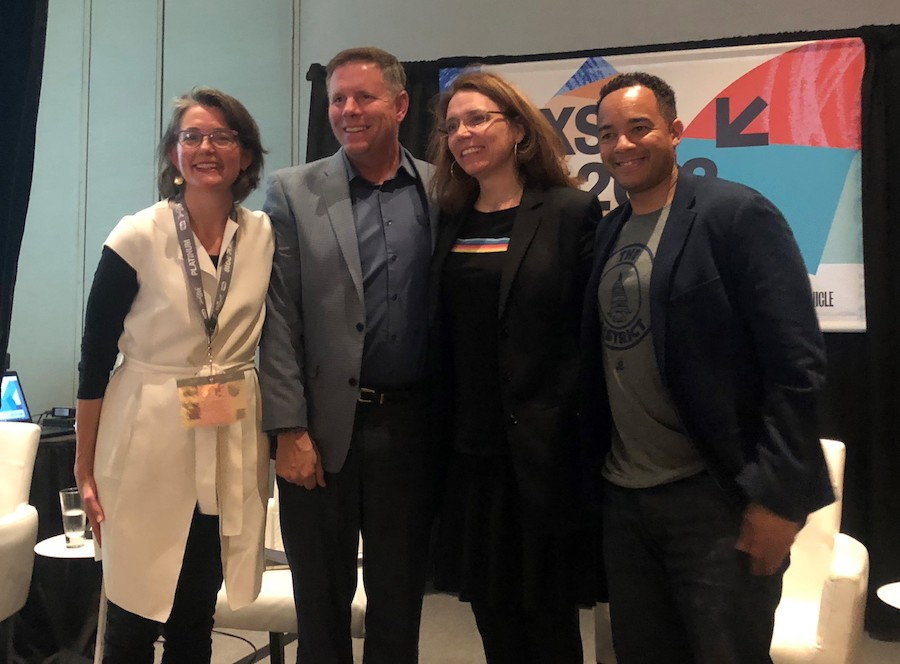 "2018 SXSW ""How Cities will Drive Autonomous Vehicles"" panelists from left to right: Jennifer Bradley, The The Aspen Institute; Rob Spillar, City of Austin; Karina Ricks, City of Pittsburgh; Brian Kenner, Government of Washington, D.C. 