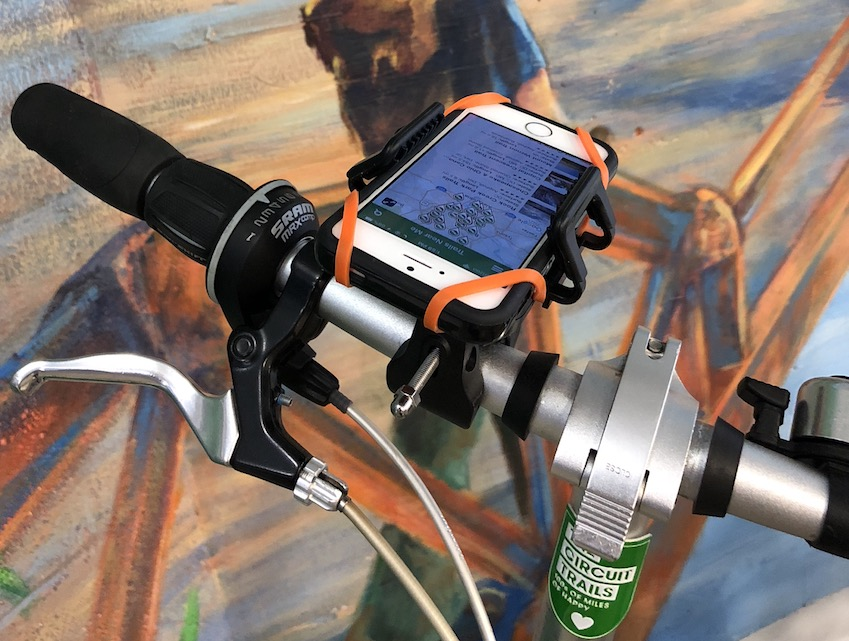 Bike mount for a cellphone | Photo courtesy Rails-to-Trails Conservancy