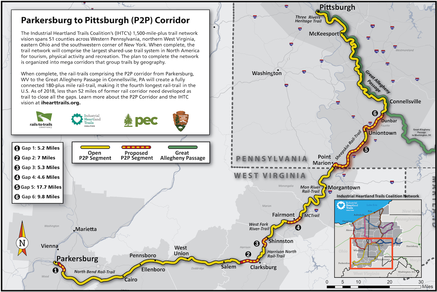 "See full map on page 1 in <a href=""https://www.railstotrails.org/resourcehandler.ashx?name=connecting-parkersburg-to-pittsburgh-by-rail-trail-bringing-a-world-class-trail-network-to-west-virginia&id=14639&fileName=P2P_Feasibility_Study_042418.pdf"">P2P Feasibility Study</a>"