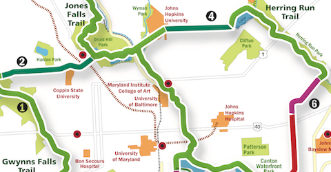 Baltimore Greenway Trails Network map section