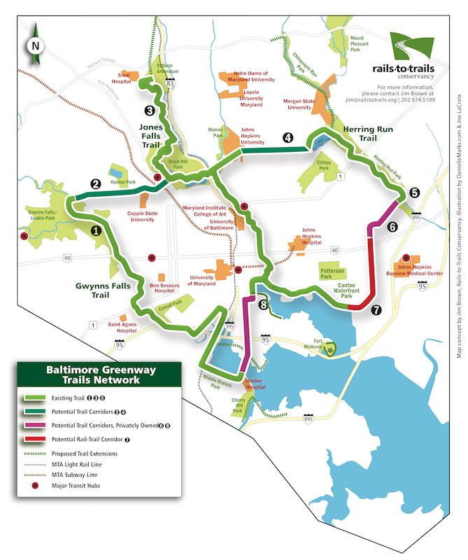 "Baltimore Greenway Trails Network Map | <a href=""/media/624154/rtc-baltimore-greenway-map_42618.pdf""target=""_blank"">Download Full Map</a>"