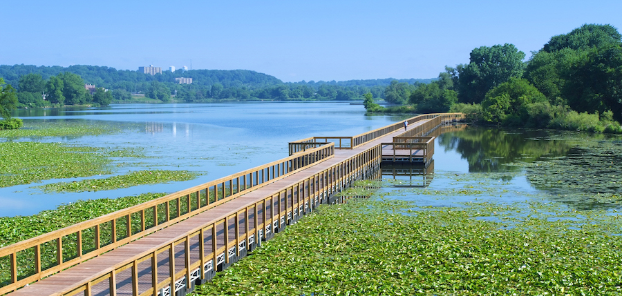 The Towpath Trail includes a floating bridge over Summit Lake. | Photo by Bruce Ford, courtesy Summit Metro Parks