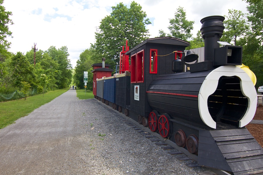 A train-themed playground adorns the Cambridge trailhead of the Lamoille Valley Rail Trail