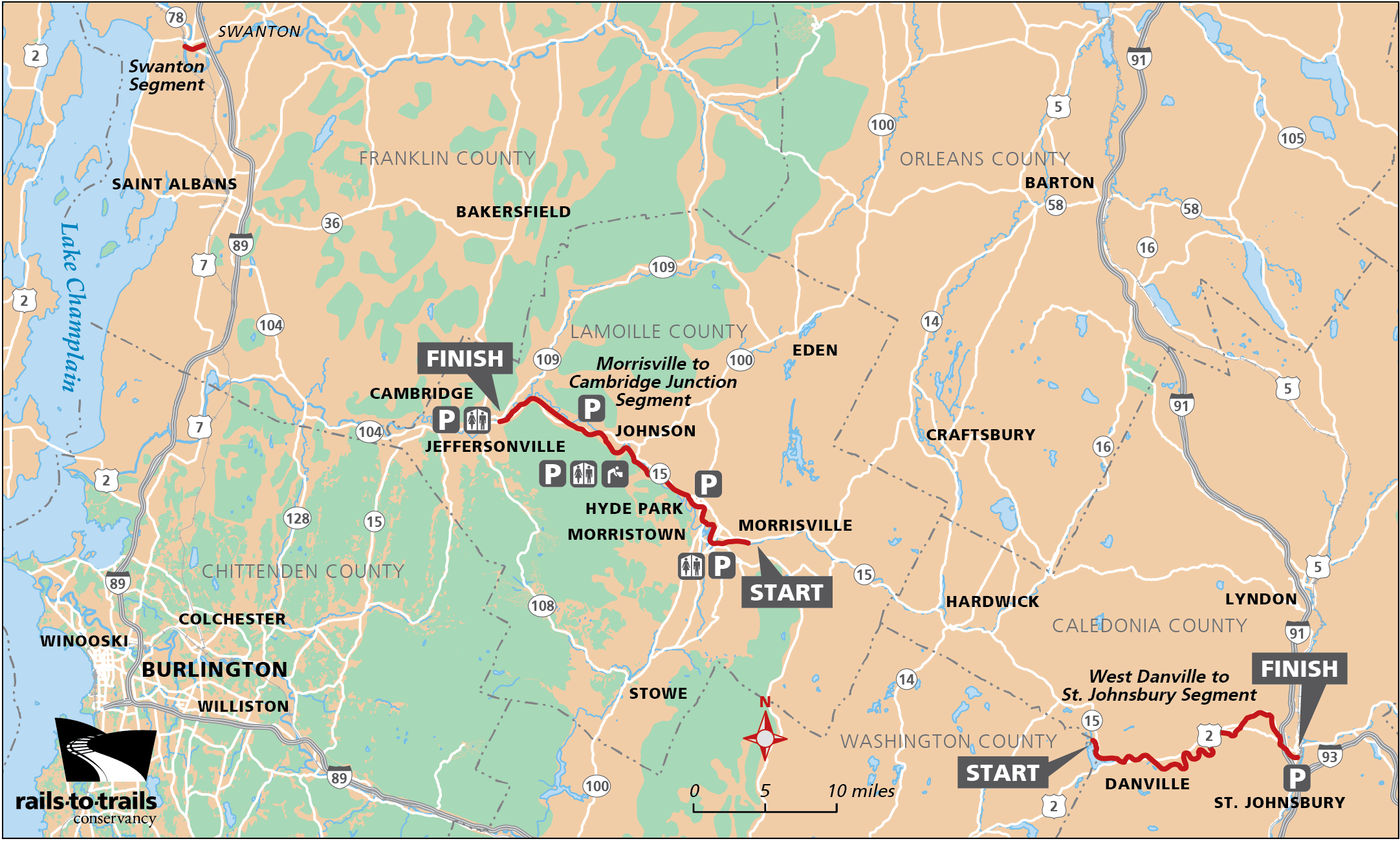 "Map of the Lamoille Valley Rail Trail from the <a href=""https://www.railstotrails.org/guidebook"" target=""_blank"">Northern New England Guidebook</a>"