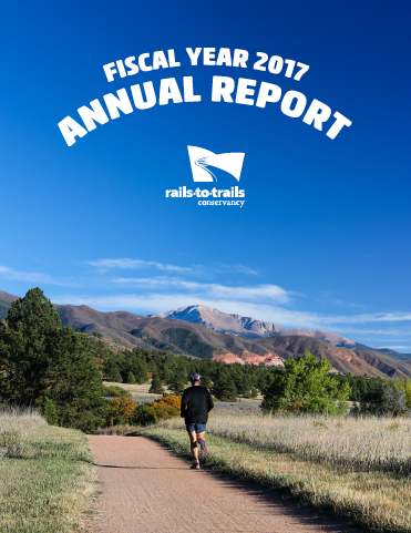 "2017 Annual Report Cover | <a href=""https://www.railstotrails.org/media/639420/2017_annual-report-final_web.pdf"">Download Annual Report</a>"