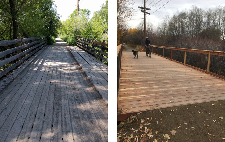 Gallagator Bridge before (left) and after (right) | Photos courtesy Gallatin Valley Land Trust