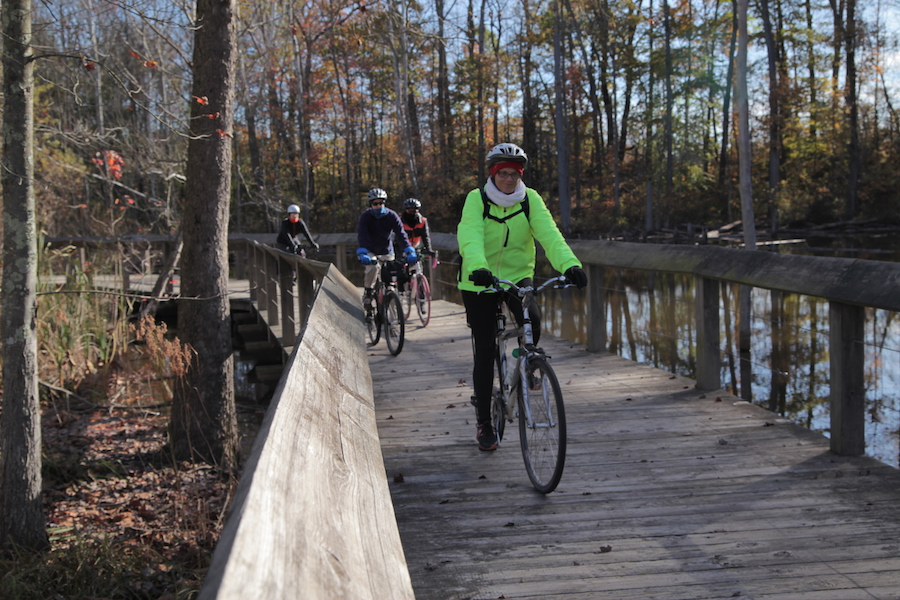 At the southern end of the WB&A Trail, riders enjoy this boardwalk section | Photo by Ashley Blue, courtesy WABA