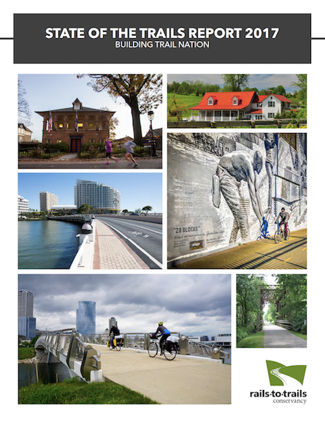 "2018 State of the Trails Report Cover | <a href=""https://www.railstotrails.org/media/648370/2018-stateofthetrails_final-pages-web.pdf"">Download Report</a>"