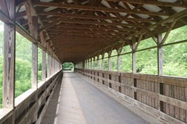 From Gann, the cadre picked up the Mohican Valley Trail, traversing the Mohican River via the aptly named Bridge of Dreams, the longest covered trail bridge in Ohio. Bridge of Dreams on the Mohican Valley Trail | Photo by Eli Griffen