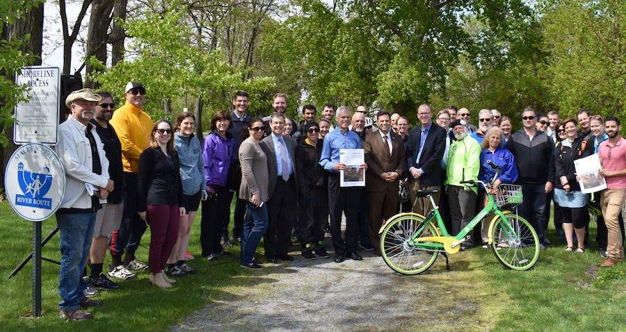 MAPC and local partners roll out the LandLine Vision Plan in Malden, Massachusetts, at the entrance to the Malden River Greenway. | Photo courtesy MAPC