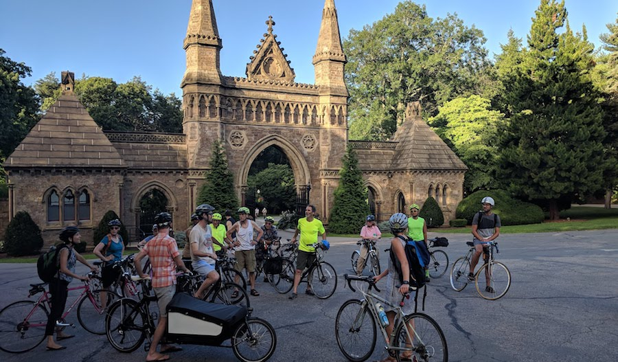 Weekly summer Landline ride, passing through the entrance to Forest Hills Cemetery in Boston, which welcomes cyclists during open hours | Photo by David Loutzenheiser