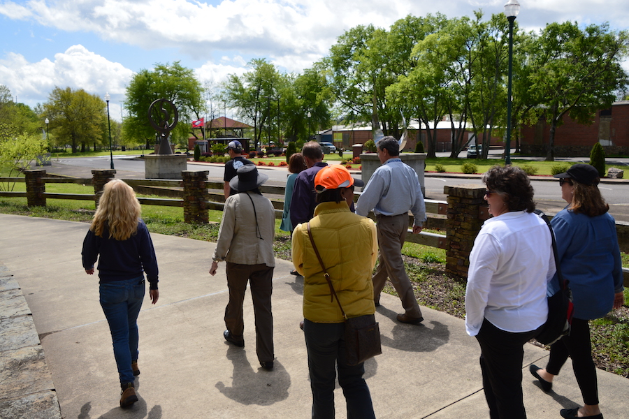 An April 2017 planning walk for the developing Southwest Trail on the Hot Springs Creek Greenway Trail | Photo courtesy Metroplan
