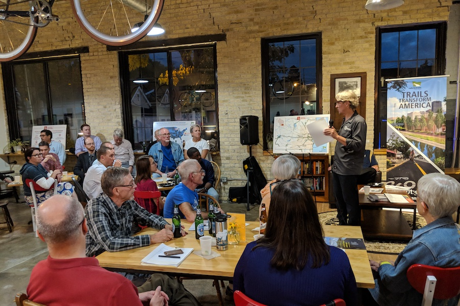 Dave Schlabowske, Executive Director of the Wisconsin Bike Fed, discusses the value of building a Trails Caucus | Photo by Brian Housh, courtesy RTC