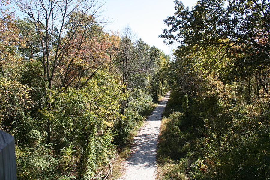 Missouri's Rock Island Trail State Park as seen from the Katy Trail bridge in Windsor | Photo courtesy Missouri Rock Island Trail Inc.
