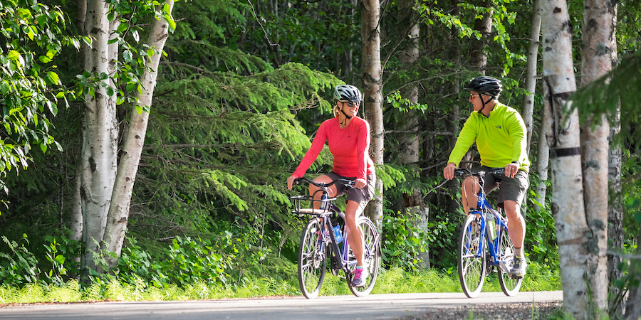 Two bikers on Tony Knowles Coastal Trail | Photo by Jody O. Photos, courtesy Visit Anchorage