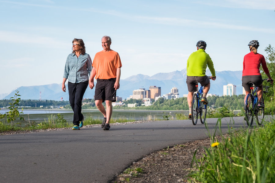 Walkers and bikers on Tony Knowles Coastal Trail | Photo by Jody O. Photos, courtesy Visit Anchorage