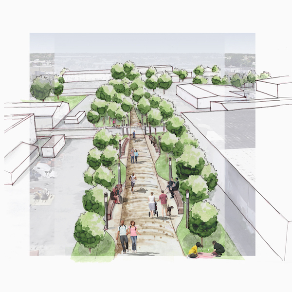 Rendering of rail-trail conversion | Rendering by Ren Southard of the American Institute of Architects Baltimore –Rashleigh of Urban Design Committee