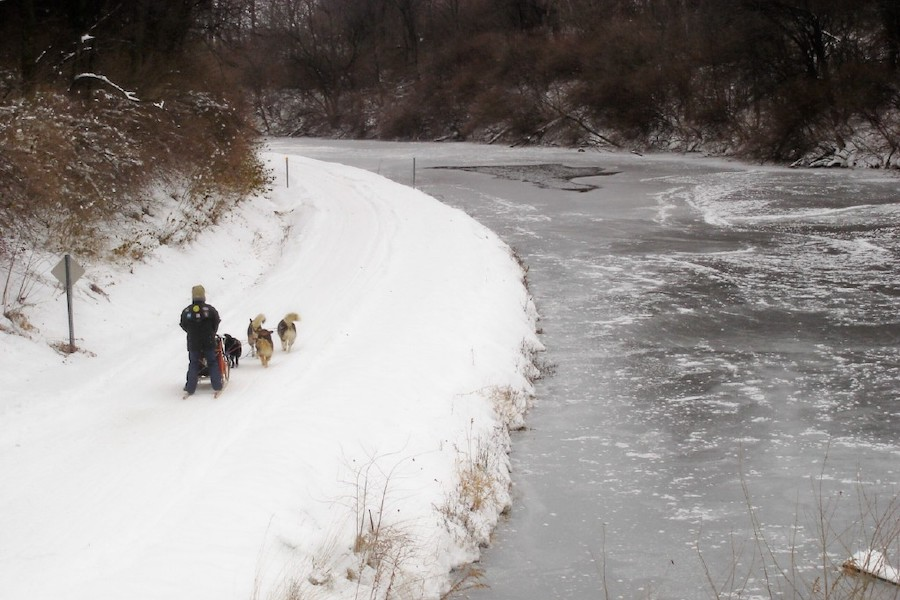 Dog sled team, Hennepin Canal Parkway, Wyanet, Illinois |Photo courtesy of Friends of the Hennepin Canal