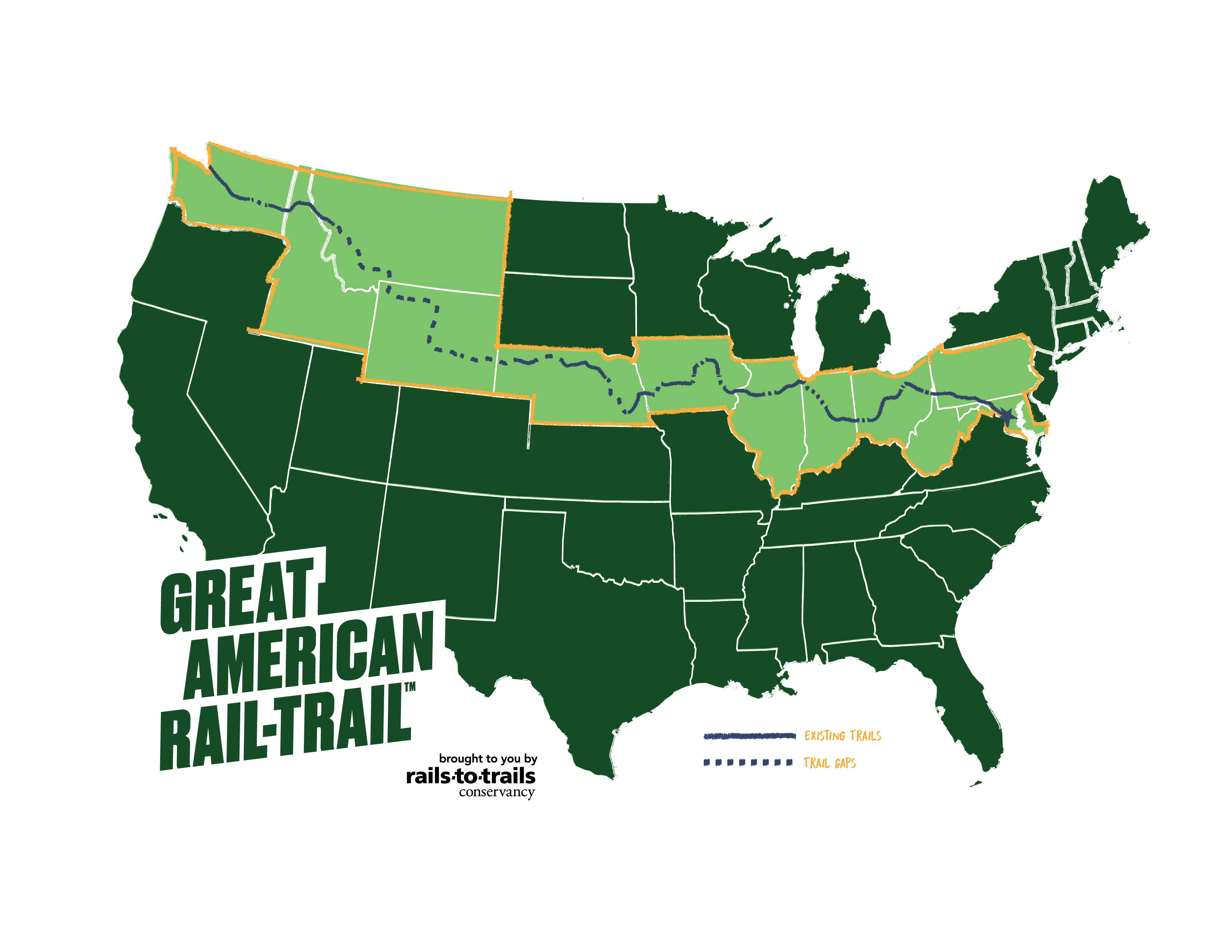 Rails To Trails Map Great American Rail Trail | Rails to Trails Conservancy