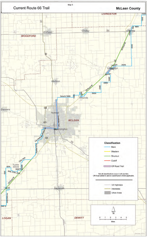 Current Route 66 Trail map