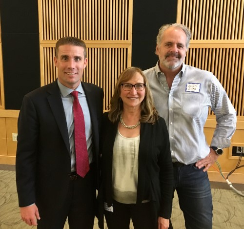 Sen. Mike McGuire (left) with his chief of staff (right) and RTC's Laura Cohen at a May 4 Town Hall in Arcata, California | Photo courtesy RTC