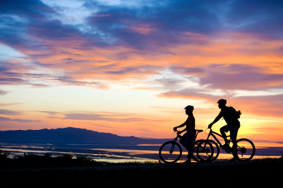 2 bikers at sunset