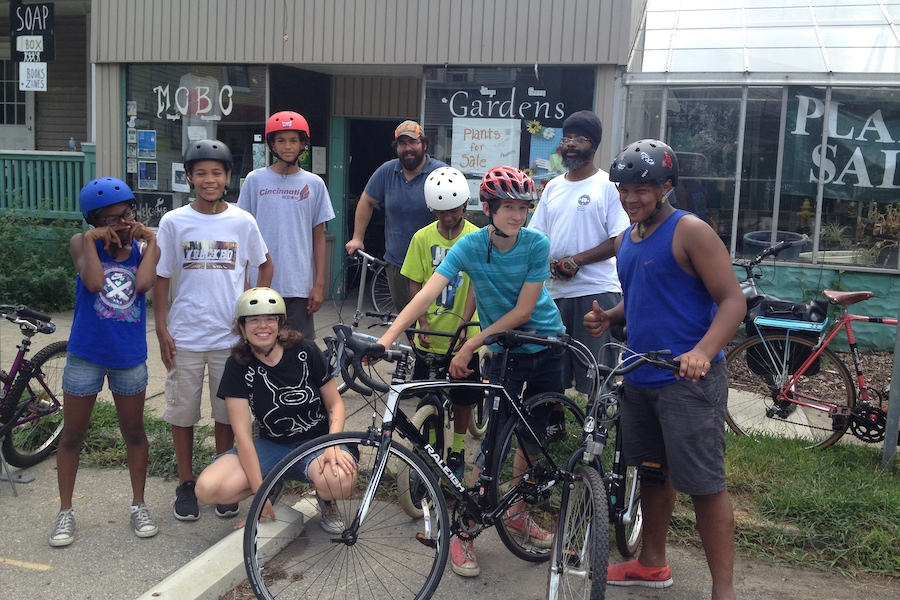 Queen City Bike and Mobo Bicycle Cooperative earn-a-bike program in Cincinnati - Photo courtesy Queen City Bike and Mobo Bicycle Cooperative