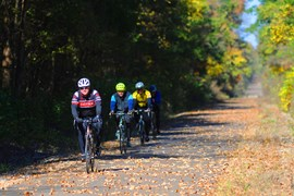 Cyclists along Tanglefoot Trail | Photo courtesy GM&O Rails-to-Trails Recreational District of North Mississippi
