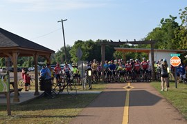 Cyclists gather for Tanglefoot Trek along Tanglefoot Trail | Photo courtesy GM&O Rails-to-Trails Recreational District of North Mississippi