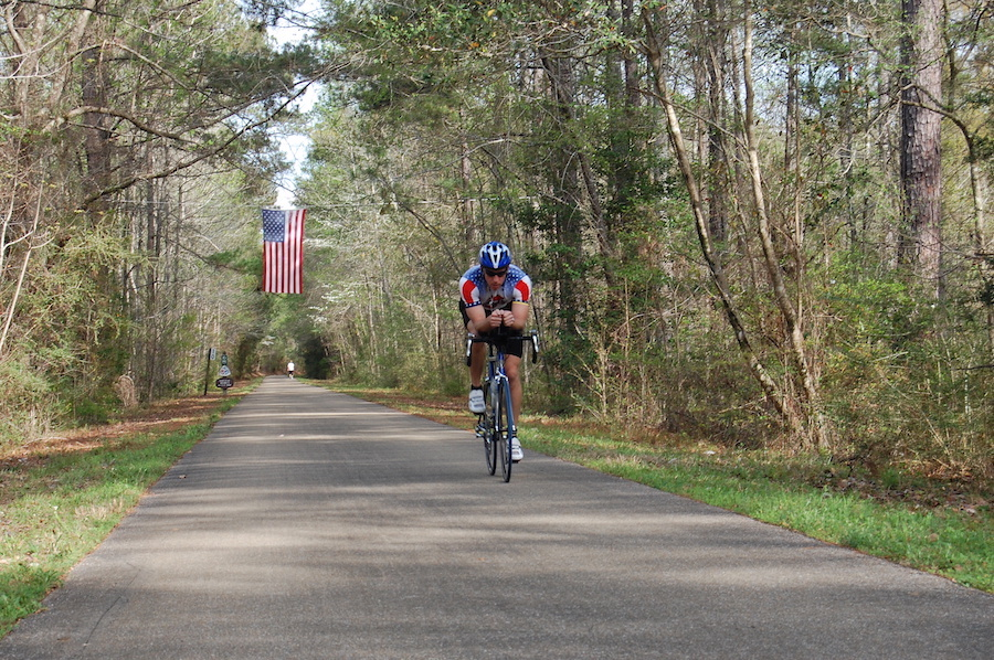 Long, straight stretches of the Longleaf Trace are popular with local cyclists. | Photo by Jake Lynch