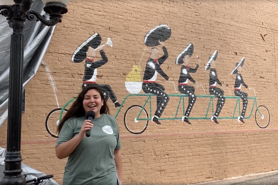 Eva Garcia at mural unveiling for Opening Day for Trails 2019