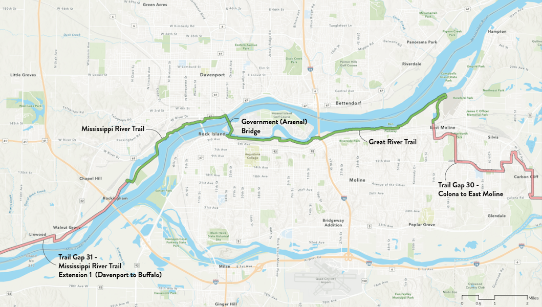 Quad Cities map along the Great American Rail-Trail