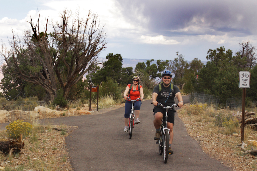 Bicyclists on the Grand Canyon Greenway Trail | Photo by Sarah Neal, courtesy Bright Angel Bicycles