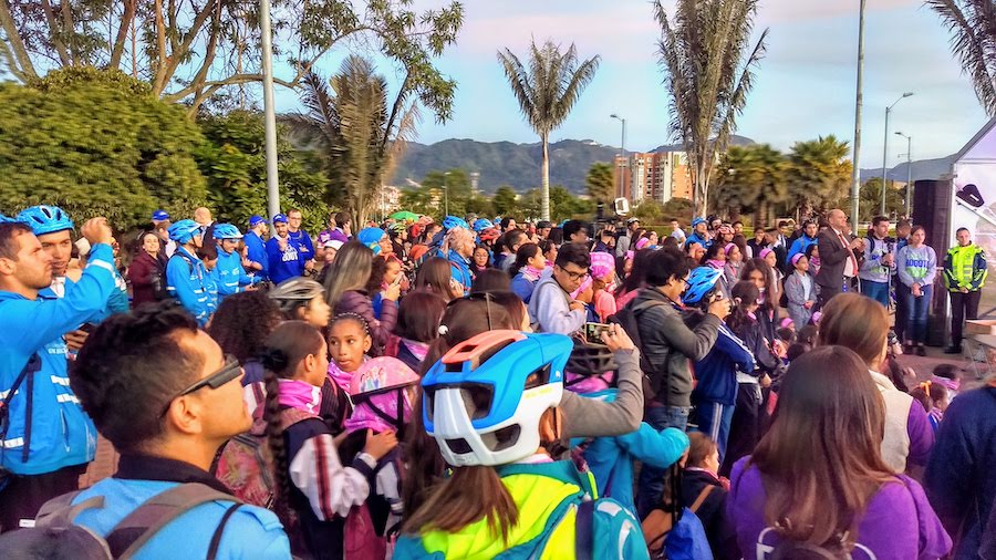 International 50-50 Women in Bicycling Congress ride through the Bogotá Ciclorrutas | Photo courtesy Rails-to-Trails Conservancy