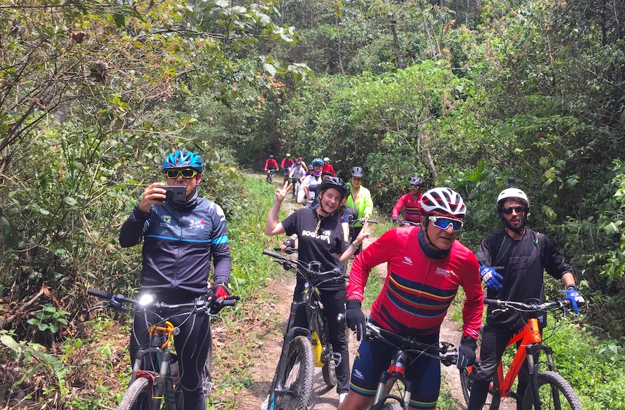 Fellow riders on Facatativá to Puerto Salgar rail-trail project corridor field visit | Photo courtesy RTC