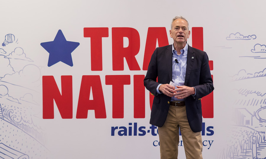 Keith Laughlin speaking at the 2018 TrailNation Summit | Photo courtesy RTC
