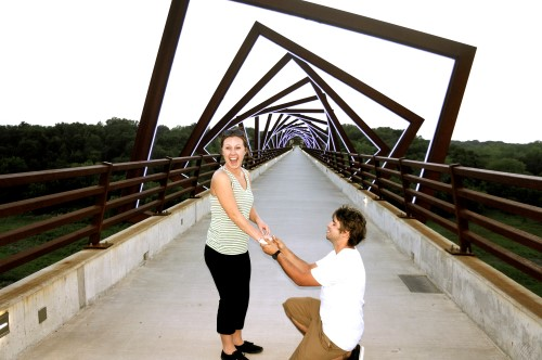 Actual moment when Tyler proposed to Ali on the High Trestle Trail in Iowa, Aug. 20, 2013 | Photo courtesy Ali and Tyler Sloan