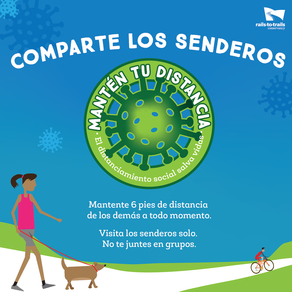 "Share the Trail ""Keep Your Distance"" graphic in Spanish"