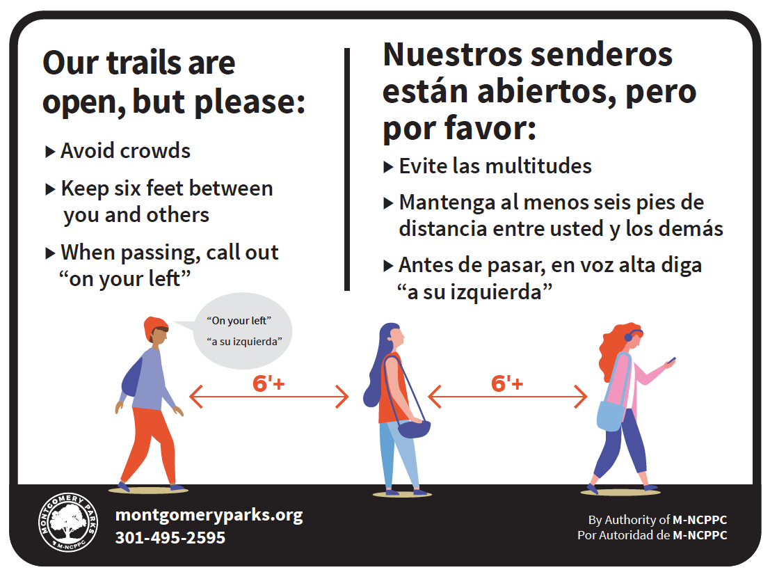 Social Distancing Trail Signage | Courtesy Montgomery Parks