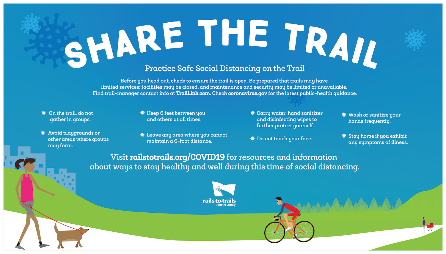 "Share the Trail ""Practice Safe Social Distancing on the Trail"" banner in English"
