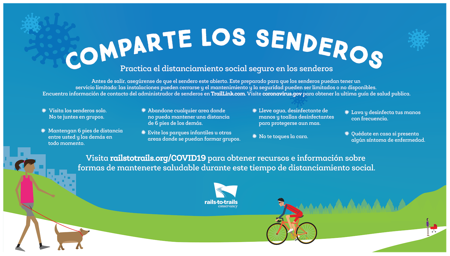 "Share the Trail ""Practice Safe Social Distancing on the Trail"" banner in Spanish"
