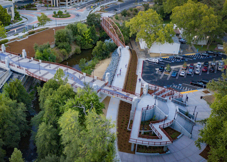A bird's eye view of the trails and pedestrian bridges recently constructed in Downtown Roseville | Courtesy City of Roseville