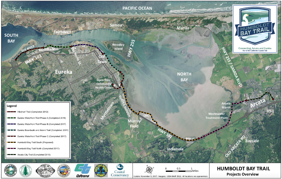 Map of Humboldt Bay trail projects in development (which are also part of the larger Great Redwood Trail network) | Courtesy Humboldt County Association of Governments