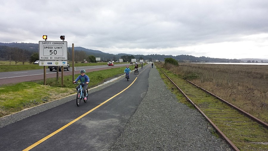 Family bike ride along the Humboldt Bay Trail | Courtesy Hank Seemann, Humboldt County Environmental Services